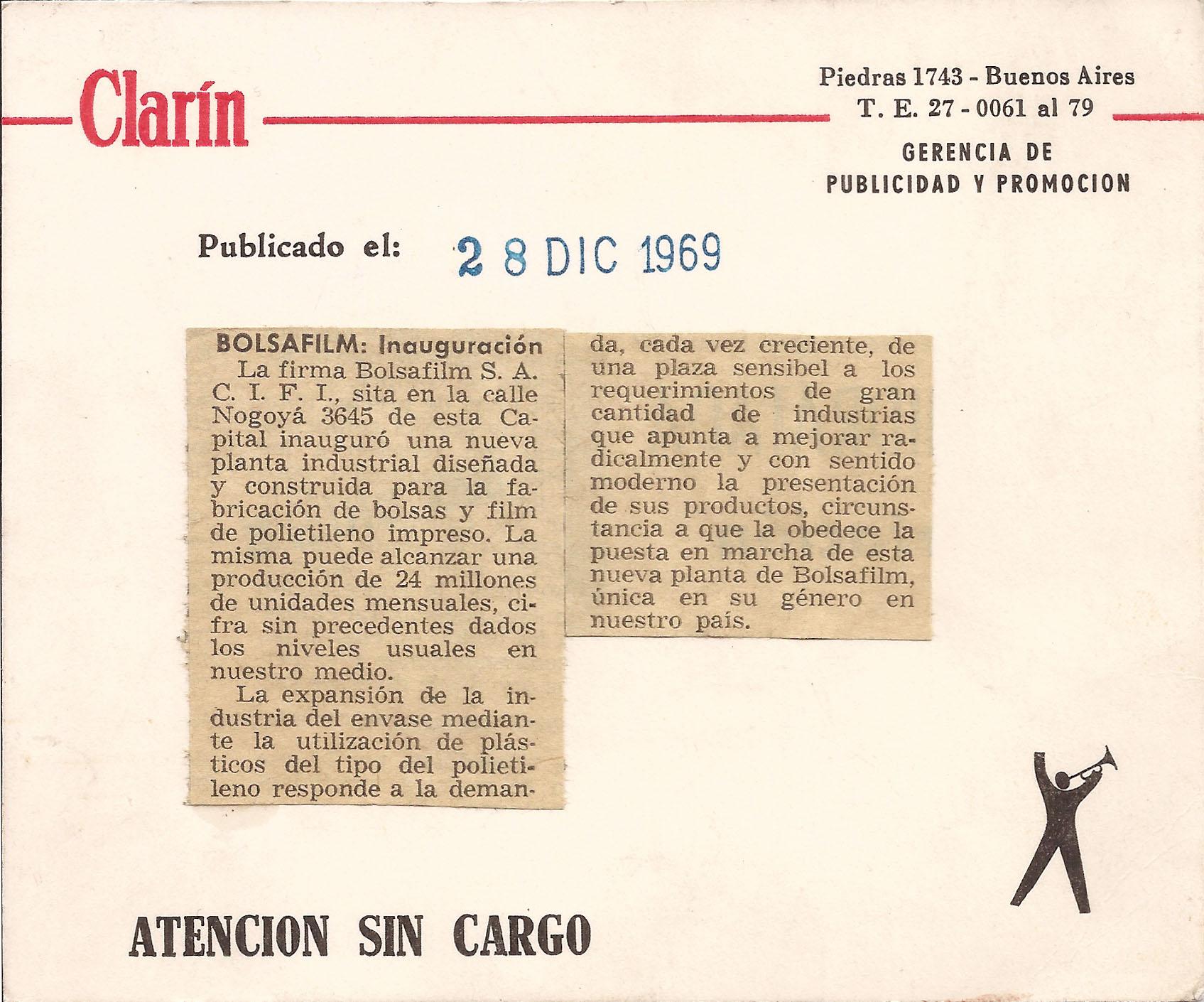 diario clarin bolsafilm - Bolsafilm S.A. - Fabrica de Envases flexibles